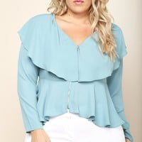 Plus Size Ruffled Zip Up Blose Tops+ GS-LOVE