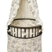 Badger Basket Black Elegance Round Baby Bassinet w/Black Toile Bedding
