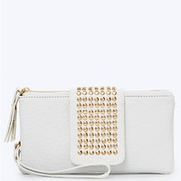 Double Zip Studded Flap Wristlet
