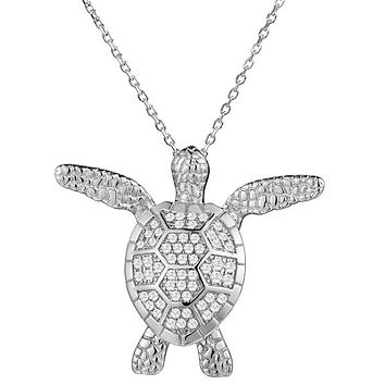 Sterling Silver Alamea Hawaii Pave CZ Textured Swimming Turtle Pendant Necklace