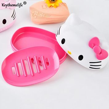 Keythemelife Hello Kitty Soap Holder Cartoon Plastic Soap Dish Plate Soap Box Bathroom Accessories C0
