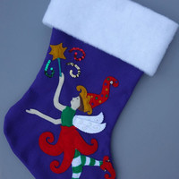 Custom Christmas Stocking--Whimsical Sugar Plum Fairy