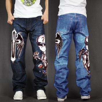 Men's 💀 Skull Baggy Loose Fit Stretch Casual Jeans