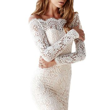 Bodycon Off-shoulder Long Sleeve Lace Dress