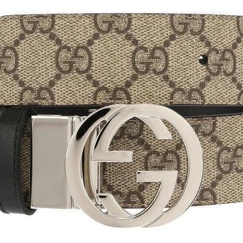 NEW GUCCI BEIGE GUCCISSIMA SUPREME BLACK LEATHER REVERSIBLE BUCKLE BELT 105/42