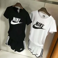 nike women fashion print short sleeve top shorts pants sweatpants set two piece sportswear-4