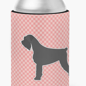 Giant Schnauzer Checkerboard Pink Can or Bottle Hugger BB3673CC