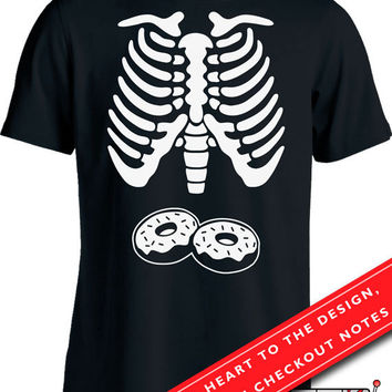 Donut Skeleton Ribcage T Shirt Halloween Costume Shirt Shirt Halloween Pregnancy Announcement Expectant Father Men's Tee MD-568