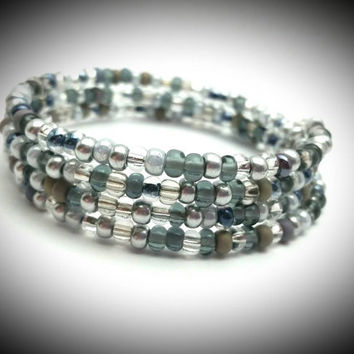 Silver Black Seed Bead Memory Wire Wrap Bracelet, Silver Wrap Bracelet, Black Wrap Bracelet, Wrap Bracelet, Coil Bracelet