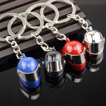 3D Car Motorcycle Bicycle Helmet Auto Key Chain Ring Silver Plated Cool