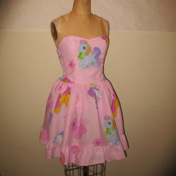 Custom Made to Order My Little Pony Pink Smocked Halter SweetHeart Geekery Pin Up Mini Dress
