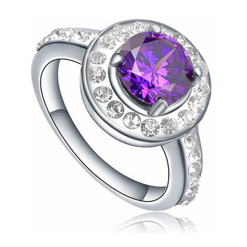 Stainless Steel Round Purple Cubic Zirconia Halo Style Ring