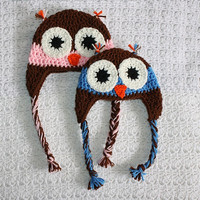 Brown and Pink or Blue Owl Hat  Newborn 0-3, 3-6, 6-12 months. Owl Always Love You