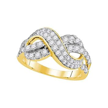 14kt Yellow Gold Women's Round Diamond Infinity Crossover Band 1.00 Cttw - FREE Shipping (US/CAN)