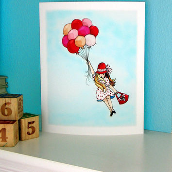 balloon girl kids wall art red and pink polka dot by wonderlaneart