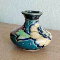 Gouda Style Pottery / Made in Japan / Ceramic Vase / Hand painted / Art Deco / Bohemian home / Small Vase / 1930s / Multicolored