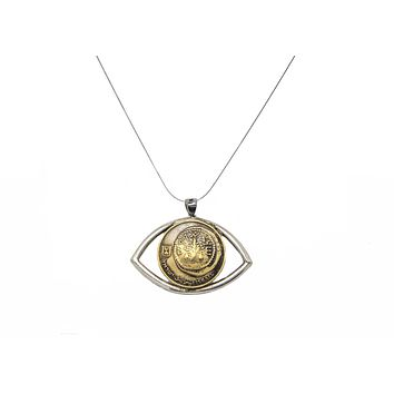 Determination: Israeli Old 5 Agura Coin Eye Protection Necklace