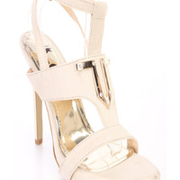 Beige Wrap Around Strap Open Toe High Heels Faux Suede