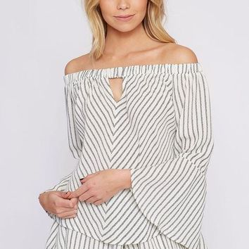 Pin Stripe Bell Top