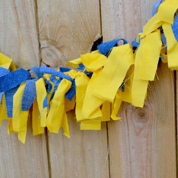 minions inspired scrappy banner  - minions photo prop - minions accessories - minions birthday banner -despicable me birthday - denim/yellow
