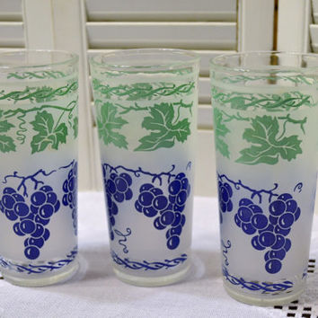 Vintage Glass Tumbler Set of 3 Frosted Green Purple Grape Design PanchosPorch