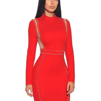 Margot Gold Stud Mesh Detail Long Sleeve Stretch Crepe Dress