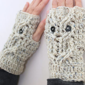 Owl Fingerless Gloves, Owl Mittens, Owl Gloves, Gifts for Teens, Women's Gloves, Wool Gloves, Crochet Gloves