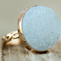 The Exquisite Sparkly Raw Oval Druzy Ring - Set in Gold Filled Bezel And A Beautifully Etched Gold Filled Band - Starry Night Collection