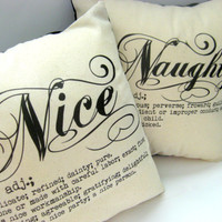 Naughty And Nice Slip Cover Set, Pillows, Home Decor, Christmas, Cheeky, Square, 14X14, Cute, Neutral, Black and Cream, Definition, Gift 30