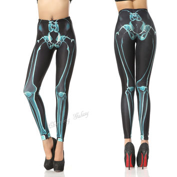 Cool Blue X-ray Skeleton Color Printing Leggings Pant from Galaxy Leggings
