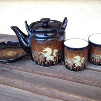 Vintage Otagiri Brown and Gold Unicorn Teapot Set - teapot, two cups and a serving dish