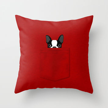 Pocket Boston Terrier Throw Pillow by Anne Was Here