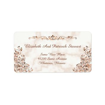Marble Rose Gold Bronze Elegant Wedding Shipping Label