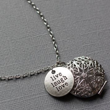 Live Laugh Love Silver Plated Diffuser Necklace - 24""