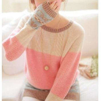 Love Stitching Outwear Sweater Cute Loose Harajuku Style Ladies Winter Knitwear Women Kawaii Sweaters And Pullovers