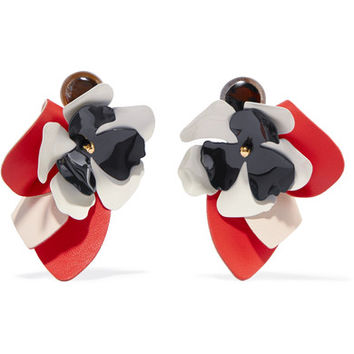 Marni - Leather, steel and horn clip earrings