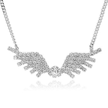 Silver Plated Crystal Wide Spread Wing Necklace