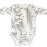 Organic Long-Sleeve Bodysuit in Geometric Cream