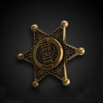 Sheriff Pattern Hand Spinners Fidget Spinner Long time Brass Toy Gift BD2 Alloy Material 2017 The Most Popular Social Toys