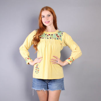 70s EMBROIDERED PEASANT BLOUSE / Oaxacan Mexican Top, xs-s
