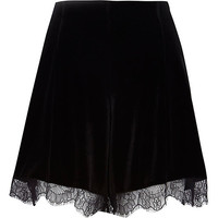 River Island Womens Black velvet lace trim high waisted shorts
