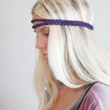 Women's Hair Accessories Double Strand Headband Double Braid Hair Band Hippy Style Boho Hairwrap in Eggplant Purple
