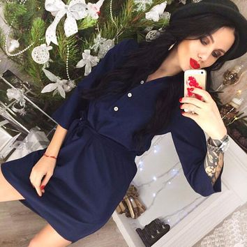 New 2018 Casual Spring Women Navy blue Pink shirt dress Vestidos Autumn 3/4 Sleeve Party Office Workwear Dresses Plus Size