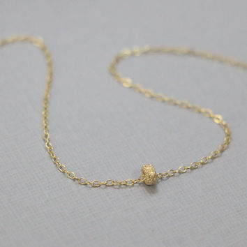 Gold Stardust Necklace, Gold Filled Stardust Rondelle on Gold Filled Necklace Chain