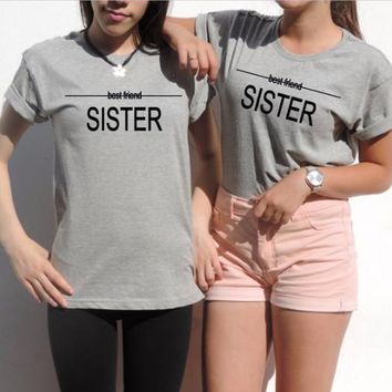 Letters Best Friend Sister print round neck short sleeve top