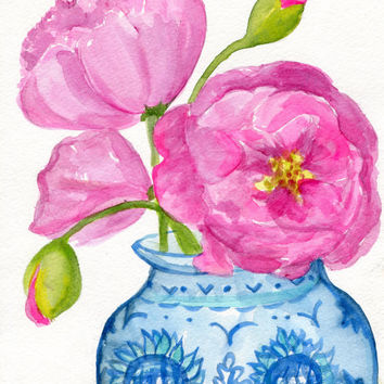 Peonies watercolors paintings original. peonies in blue and white vase, floral wall art, pink flowers artwork original watercolors painting