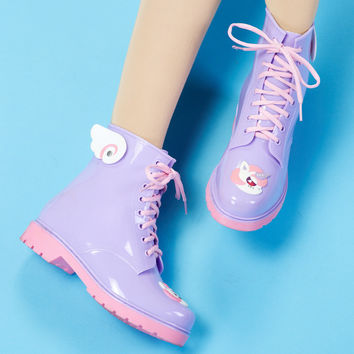 Cartoon Candy Colors Flat Heels Rain Boots