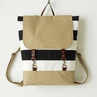 Black stripe canvas backpack, laptop backpack, school bag with leather closures, 2 front pockets, Design by BagyBags