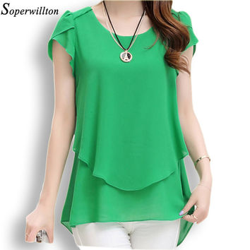 Soperwillton 2016 New Summer Women Blouse Loose Shirt O-Neck Chiffon Blouse Female Short Sleeve Blouse Plus Size 5XL Shirts D378