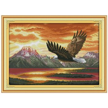 The flying eagle (2) Patterns Counted Cross Stitch 11CT 14CT Cross Stitch Sets Animals Cross Stitch Kits Embroidery Needlework